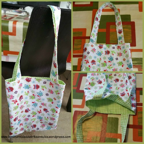 Collage tote bag reversible